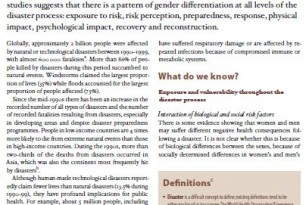 Gender and Health in Disasters