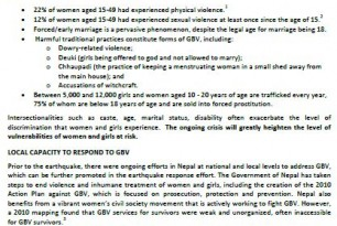 Gender-Based Violence in the aftermath of the Nepal Earthquake