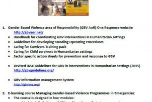 List of Resources on Gender and Gender-Based Violence in Emergencies
