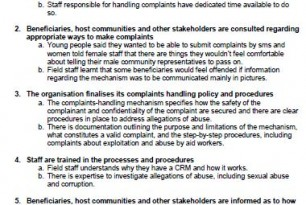 Ten Steps and Indicators of a Complaints and Response Mechanism (CRM)