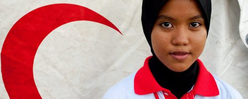 """Nuur Shahira Bin Ti Mohd Asri is a brand new volunteer with the Malaysian Red Crescent Society. At just 18 years of age, she is from Kedah, the state where the recent disaster drill took place on a humid Saturday afternoon. """"It was good to help,"""" she said, conveying an enthusiasm that will ensure her continued participation with MRCS."""