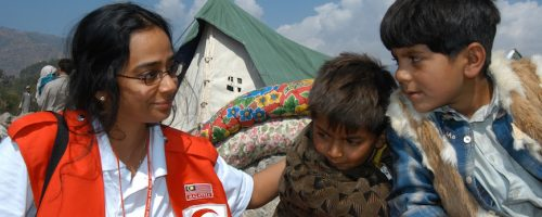 Kashmir earthquake, Pakistan and India, October 8 2005. The medical-team from the Malaysian Red Crescent arrived in Balakot, Pakistan.