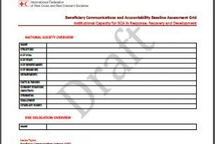 Beneficiary Communications and Accountability Baseline Assessment Grid (Tools) – Institutional Capacity for BCA in Response, Recovery and Development
