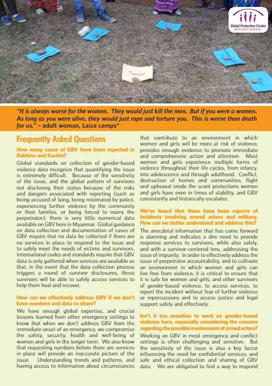 Myanmar Gender-based Violence (GBV). Frequently Asked Questions