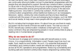 Beneficiary Communication Background paper for the workshop 2013 – Community Engagement