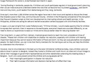 Press release from Children, Youth and Child-Centered Organizations – 6th Asian Ministerial Conference on Disaster Risk Reduction (6th AMCDRR) in Bangkok – Youth highlights