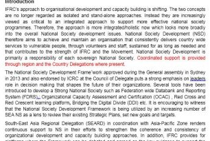 Report on National Society Development