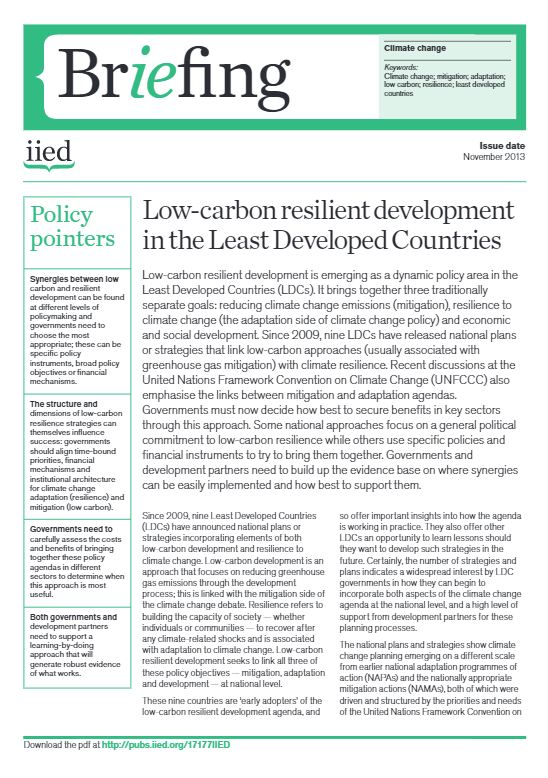 Low-carbon resilient development in the Least Developed Countries (2013) - IIED