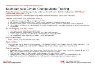 Session plan – Session 6 – Climate change adaptation training kit 2016
