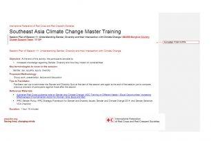 Session plan – Session 11 – Climate change adaptation training kit 2016