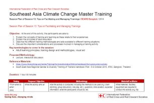 Session plan – Session 13 – Climate change adaptation training kit 2016