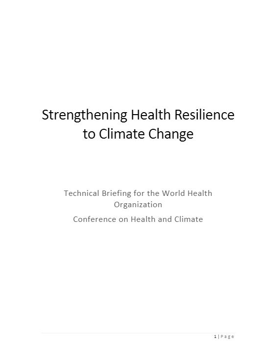 Strengthening Health Resilience to Climate Change - WHO