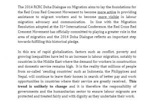 Resulting in the RCRC Doha Dialogue Outcomes (Commitments) – Migration