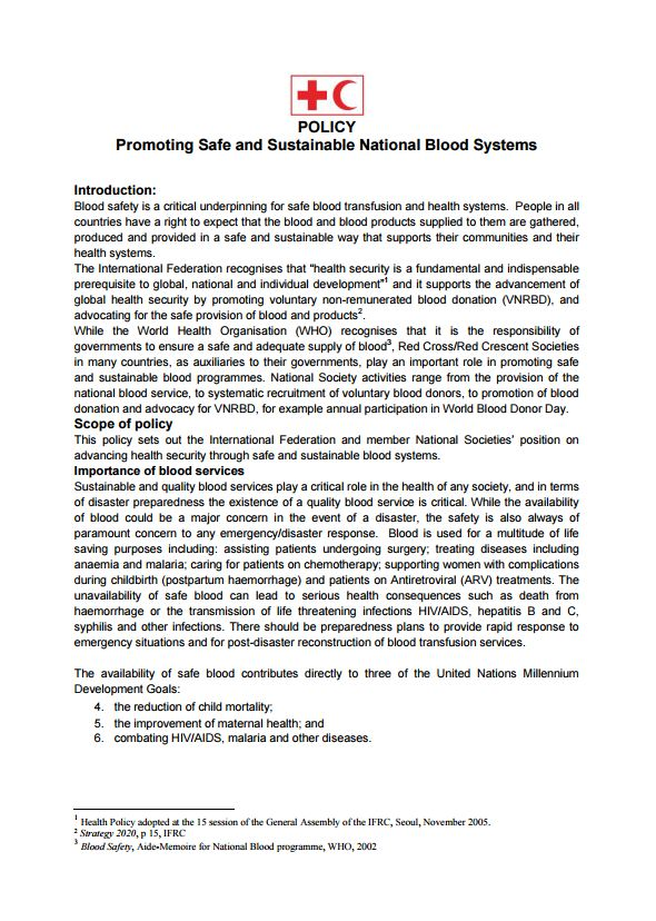 IFRC Blood Policy: Promoting Safe and Sustainable National Blood Systems - Blood Donation Community Based Health and First Aid (CBHFA)