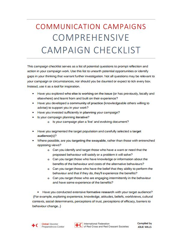 Communication campaign - checklist - Humanitarian Diplomacy and Advocacy