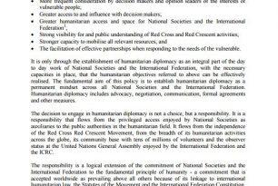IFRC Humanitarian Diplomacy policy – Humanitarian Diplomacy and Advocacy