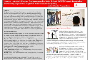 Lessons Learned – Disaster Preparedness for Safer School Project in Bangladesh