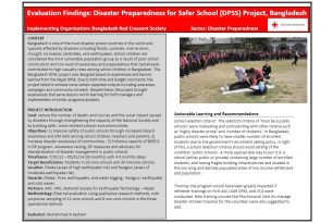 Evaluation findings – Disaster Preparedness for Safer School Project in Bangladesh
