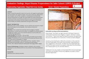 Evaluation Findings [brief] – Disaster Preparedness for Safer Schools Project, Nepal