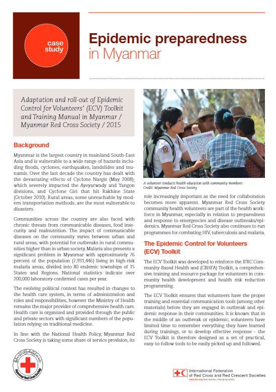 Myanmar Epidemic Preparedness case study - Epidemic Control for Volunteers (ECV)
