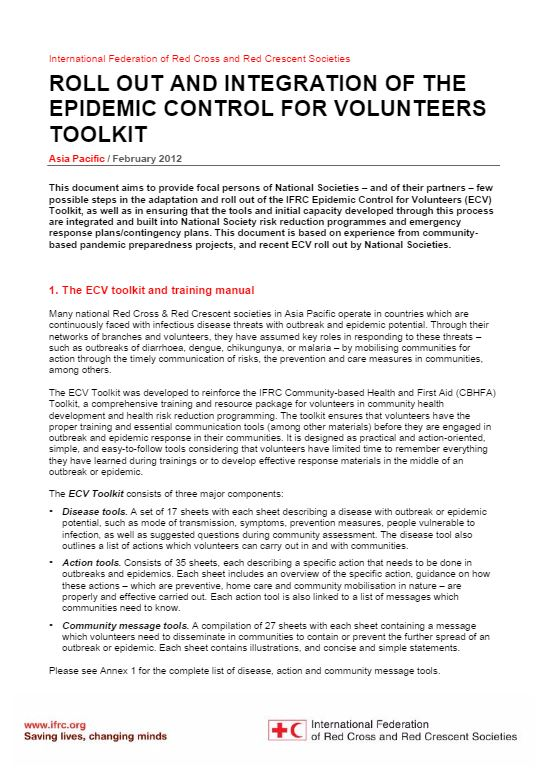 Important Note on Rollout and Integration of the Epidemic Control for Volunteers Toolkit, February 2012 - Epidemic Control for Volunteers (ECV)