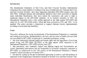 Federation HIV/AIDS Policy (2002) – HIV