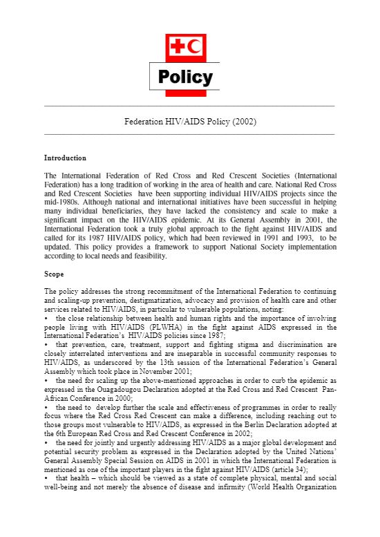 Federation HIV/AIDS Policy (2002) - HIV