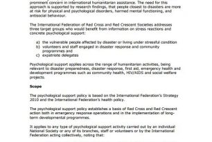 IFRC Psychological Support Policy – Psychosocial Support (PSS)