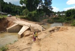 The floods have presented some access challenges including due to damaged roads such as this one in Mokveing village, Bang District, Oudomxay Province. Photo Credit: IFRC