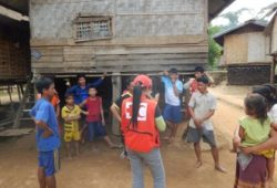 Lao Red Cross conducts an assessment in one of the affected villages with support of an RDRT member deployed from Thailand. Photo Credit: IFRC