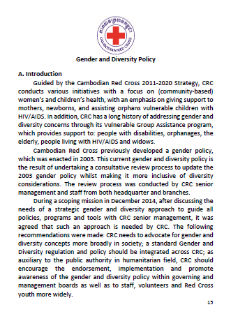 Cambodian Red Cross Gender and Diversity Policy (in Khmer and