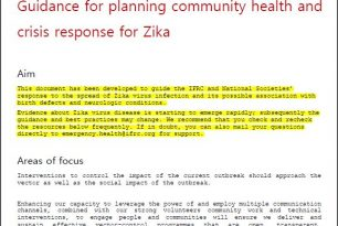 Guidance for planning community health and crisis response for Zika