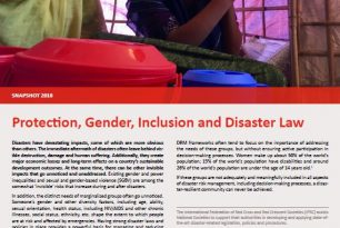 Protection, Gender, Inclusion and Disaster Law Snapshot 2018