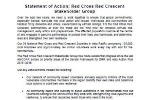 Statement of Action: Red Cross Red Crescent Stakeholder Group | AMCDRR | 3-6 July 2018 | Ulaanbaatar, Mongolia