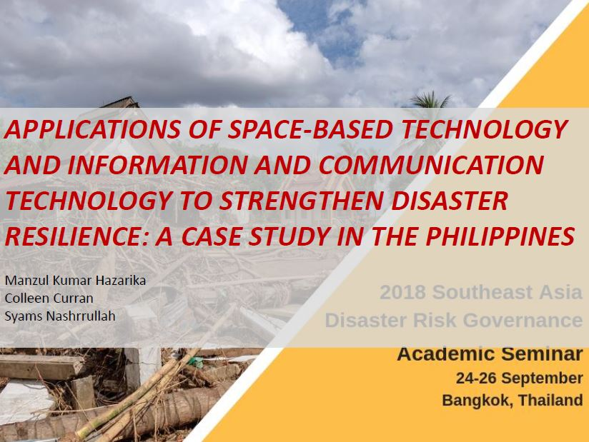Presentation 19: Applications of Space-based Technology and