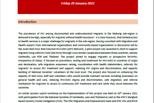 Report on Lessons Learnt: Cross-border Cooperation on Migrants Living with HIV/AIDS project