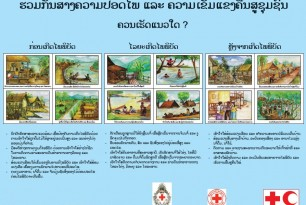 Poster on flood preparedness in Lao language by Lao Red Cross
