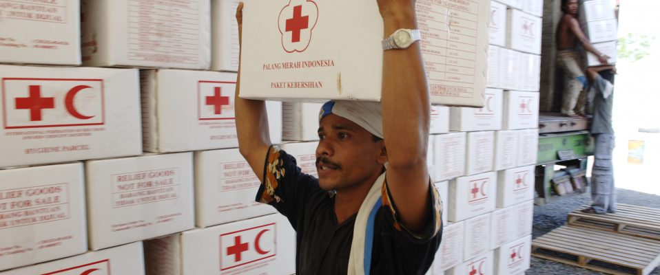 IFRC warehouse in Banda Aceh, Aceh Province, Indonesia. Indonesia, East Asia December 2004 Tsunami, November 14, 2005.
