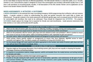 IASC Gender Marker Tip Sheet: Water Sanitation Hygiene (WASH)