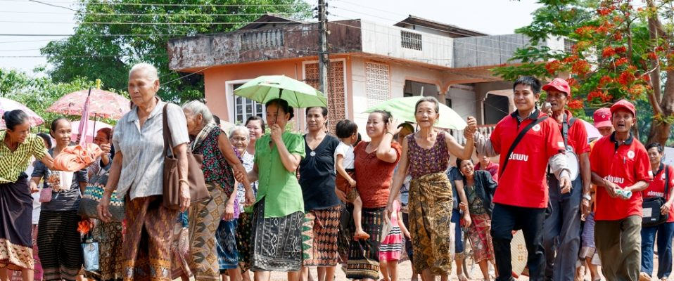 Khammouane Province, Laos, 2015  On the move. Villagers move to a safe place during a Community Based Disaster Risk Reduction simulation. The exercises and drills focus on disaster preparedness and response at village level, ensuring communities are equipped with skills to activate emergency plans and save lives.  Through the simulation project Lao Red Cross and partner French Red Cross, with support from the European Union, are improving safety for vulnerable communities.
