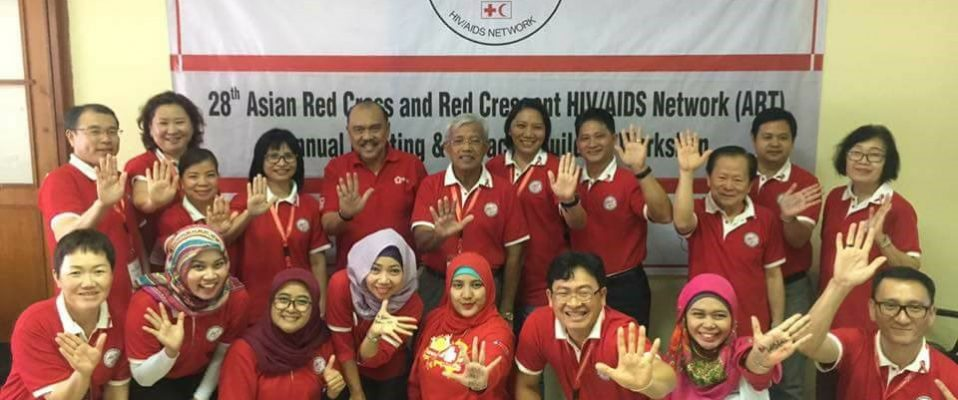 Group Photo of 28th Asian Red Cross and Red Crescent HIV/AIDS Network in  Jakarta