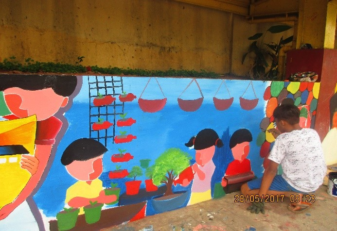 A mural painting in the final round at Batasan Hills National High School
