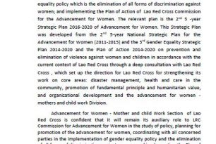 Lao Red Cross Gender Strategy 2016-2020