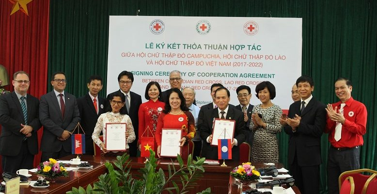 Signing Ceremony of Cooperation Agreement between Viet Nam Red Cross, Lao Red Cross and Cambodia Red Cross