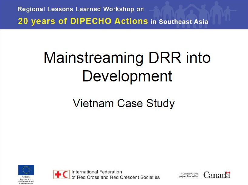 Example of impacts as a result of DIPECHO interventions - Vietnam example