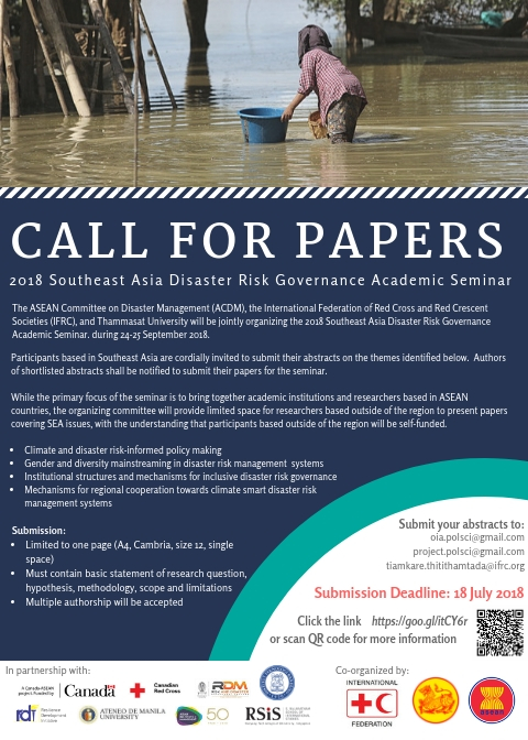Call for Papers: 2018 Southeast Asia Disaster Risk